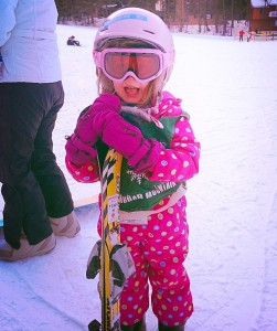 "E, Age 4 ""skiing was YES fun!"" #firstdayfaces"
